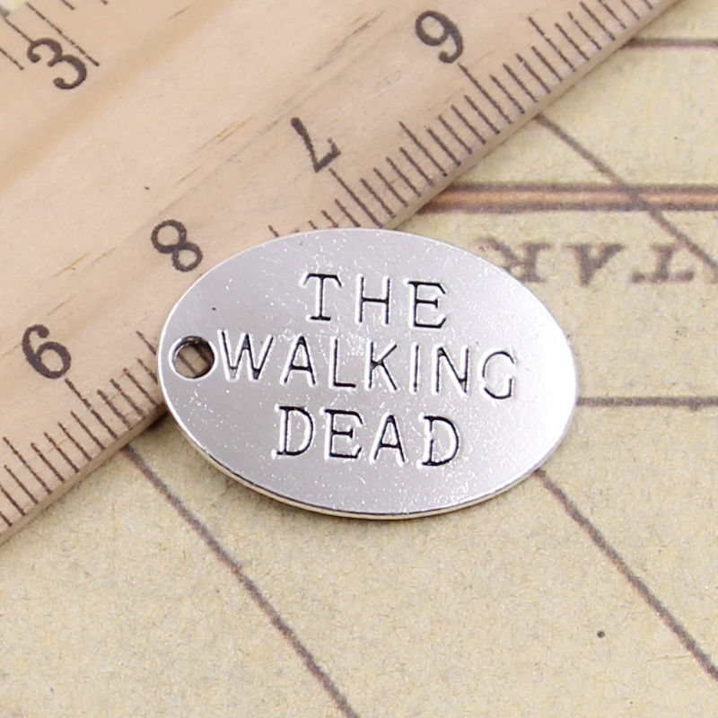 10pcs Charms Plates The Walking Dead 17x23mm Tibetan Silver Plated Pendants Antique Jewelry Making Diy Handmade Craft