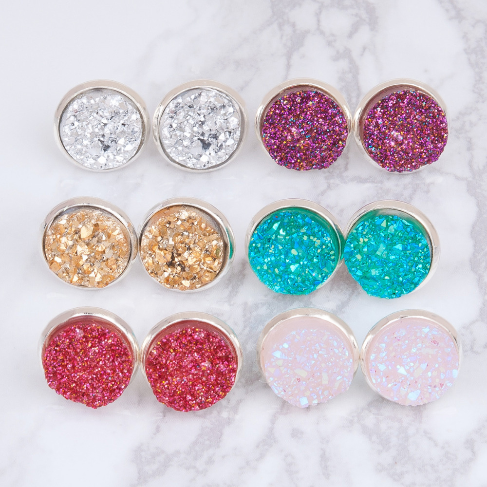 Copper Round Crystal Stud Earrings
