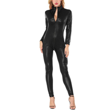 Sexy wetlook Faux Leather Catsuit PVC Latex Bodysuit Front Zipper Open Crotch Clubwear fetish hot erotic Pole Dance Lingerie 4XL