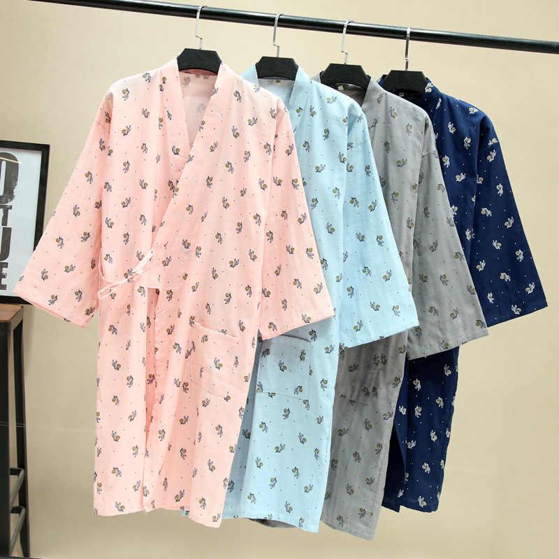 Spring Thin 100% Cotton Gauze Nightgown Lovers Robes Men and Women Bathrobe  Long Sleeping Skirts 8210d0638