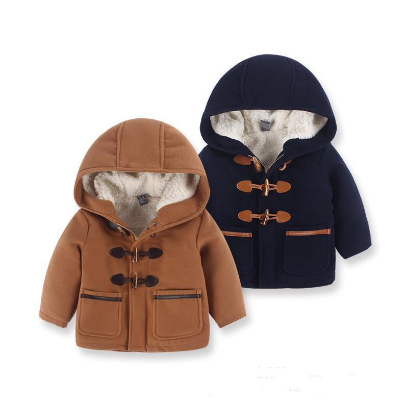 Зимние пальто высокого качества для мальчиков шерстяные пальто с капюшоном и карманами утепленная одежда для девочек с капюшоном пальто ви...