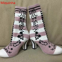 Miquinha Flower Plants Butterfly Knot Pattern Decor Women Boots Round Toe Strange Style Heel Women Spring Autumn Shoes Girl Lady