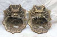 free 4.8 China Chinese Copper Bronze Dragon Head Fengshui Door Knocker Statue Pair fast