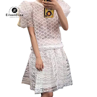 White Skirt Suit Sets Woman Summer 2018 Puff Sleeve Tops And Skirt Weaving Set Ladies Two Piece Suit Elegant
