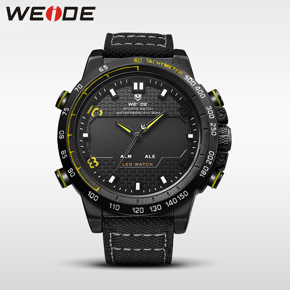 WEIDE genuine nylon watches mens brand luxury sport waterproof watch quartz automatic analog watch alarm digital led clock 6102 weide casual genuine luxury brand quartz sport relogio digital masculino watch stainless steel analog men automatic alarm clock