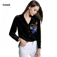 TUHAO Spring Autumn Floral Birds Embroidery Blouses Women Tops Long Sleeve Velvet Casual Shirts Black Blusa