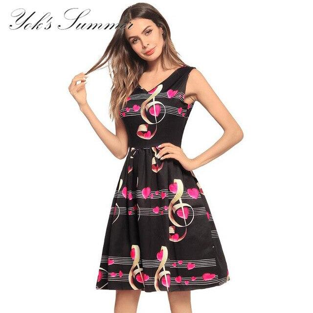 YOK's Female Dress Summer Clothes For Women Elegant Music Notes Love Decoration Dress Fashion Printing Short Sleeve Dress DN153