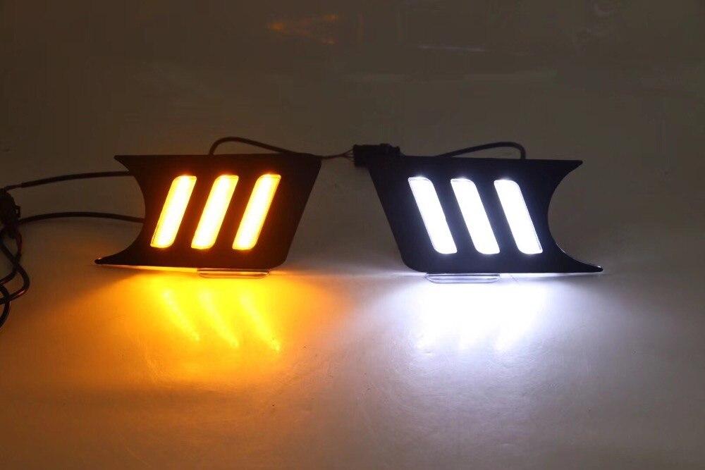 eOsuns светодиодные DRL фары дневного света с желтый сигнал поворота и синий ночной свет беспроводной переключатель для Ниссан Сентра доработанный sylphy