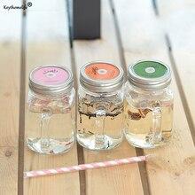 Keythemelife eis Obst Installiert Wasserflaschen Sommer Kaltes Getränk Infusionsflasche mit stroh Einmachglas Wasserkocher C0