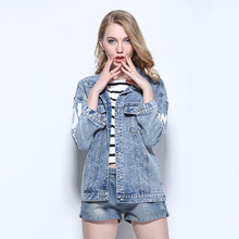 Letter print cowboy jacket female spring 2017 new tide loose short section light blue fashion bat sleeves POLO collar top coat