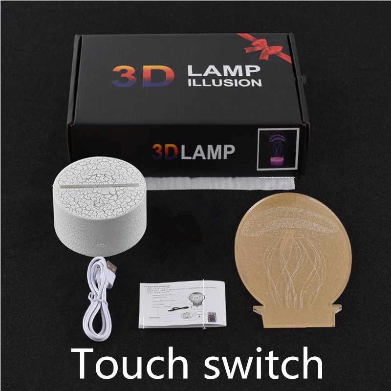 3D LED Đèn 7 Màu Sắc Cảm Ứng Chuyển Đổi Bảng Bàn Ánh Sáng Acrylic Ảo Giác Bầu Không Khí Phòng Chiếu Sáng Trò Chơi Bảng Đèn Cho Phòng Ngủ