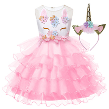 Girls Dress Unicorn Headband 2Pcs Kids Clothes 2019 Baby Princess For Lace Ball Gown Wedding Party Dresses