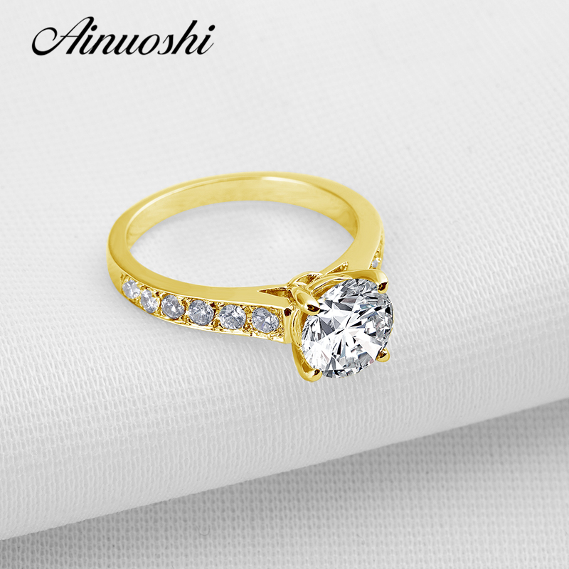 AINUOSHI 10k Solid Yellow Gold Wedding Ring 2 ct Round Cut Simulated Sona Diamond Bague Bijoux Bridal Engagement Rings for Women ainuoshi 10k solid yellow gold wedding ring 2 ct round cut simulated diamond anel de ouro female wedding rings for women gifts