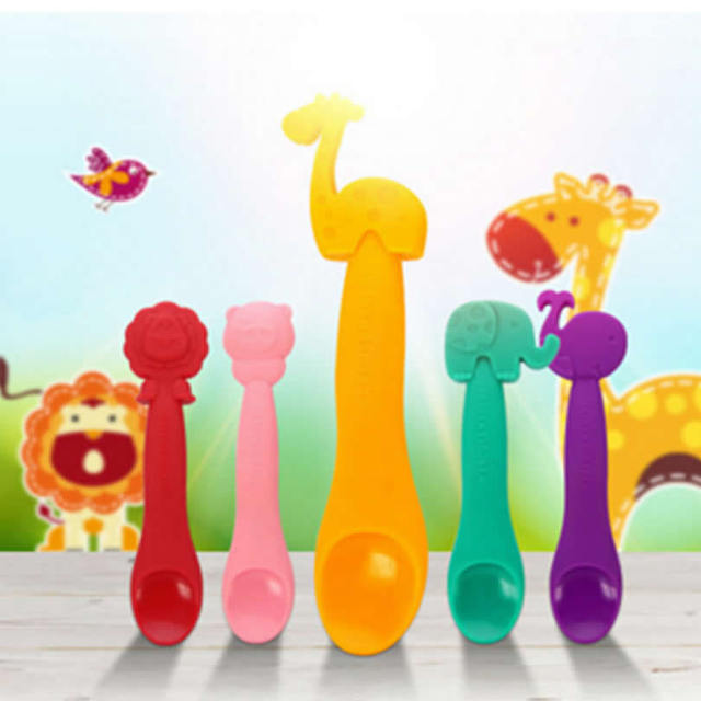 Cute Animal Shaped Silicone Baby Spoon – White