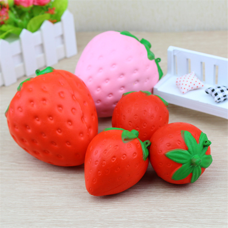 Zhenwei Squishy Toys Slow Rising Strawberry Fruit Jumbo Phone Strap Squishi Squeeze Toy Squishes No Sound Decoration Kindergarte