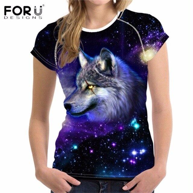 6f268e553132 FORUDESIGNS Cool 3D Animal Galaxy Wolf Print Women Summer T Shirts Universe  Star Short Sleeve Tops Breathable Female Tee Shirt