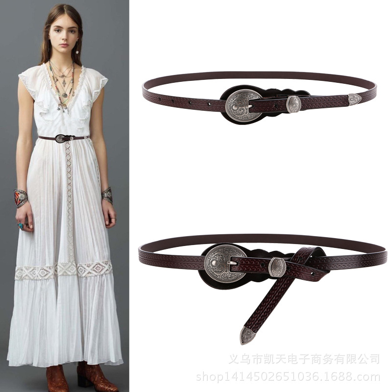 Vintage Retro Carved Metal Wide Double Buckle Belt Adjustable PU Waistband Women Elastic Belt Trendy For Jeans Straps YS150