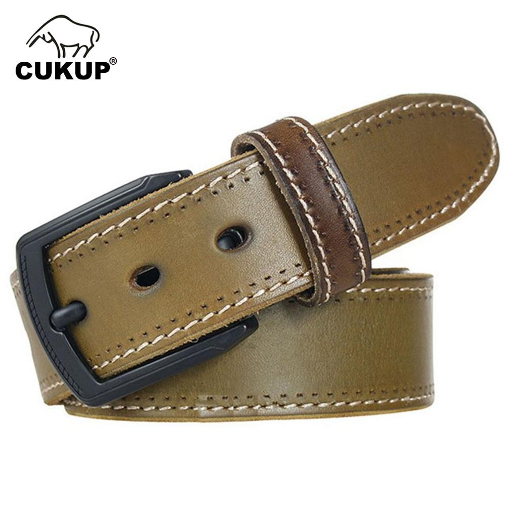 CUKUP Mens Top Quality Solid Green Cow Skin Leather Belts Black Pin Buckle Metal Man Casual Styles Jeans Belt for Men NCK298