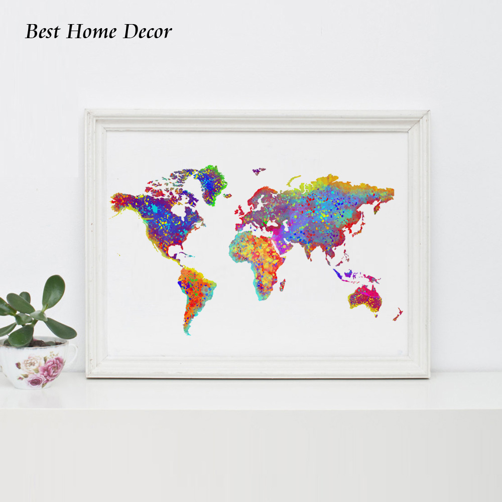 World map poster watercolor world map wall art wall hanging map world map poster watercolor world map wall art wall hanging map decor paper modern art wall decoration ap072 in painting calligraphy from home garden on gumiabroncs Choice Image