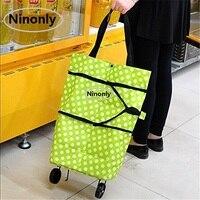 49CM Stylish Oxford Folding Shopping Cart Bags Storage Travel Bag Organizer Foldable Package Trolley Cart Handbag