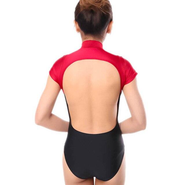 Ballet Pratique Siamois Gym Vêtements Dos Nu Justaucorps Dos Ouvert Body  Couture À manches d57552f2d65