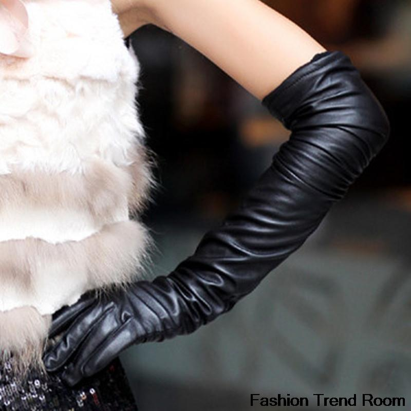 2 farger 2018 Nye Faux Long Leather Gloves Fashion Women Gloves Varm Utendørs Lang Design Sexy Hansker Gratis frakt
