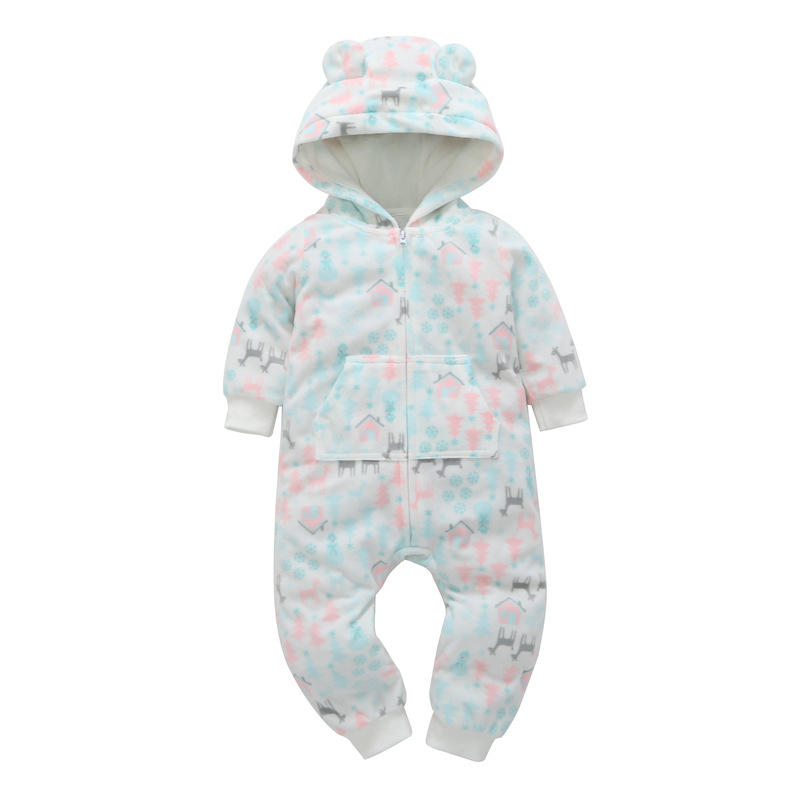 HTB1BVvnmlsmBKNjSZFFq6AT9VXaf 2018 New Bebes Clothes Newborn One Piece Fleece Hooded Jumpsuit Long Sleeved Spring Baby Girls Boys Body Suits Romper