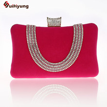 2016 New Latest Evening Bag Diamond Clutch Corduroy Rhinestone Wedding Bridal Handbag Double Chain Shoulder Messenger Bag