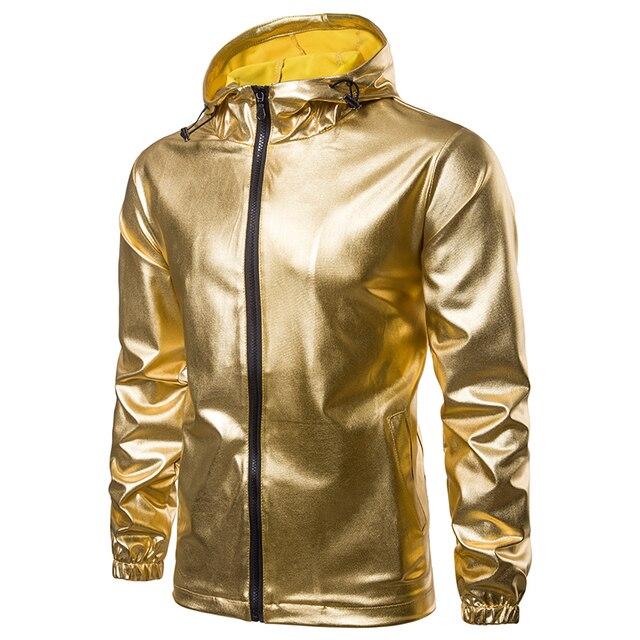 Men Fashion Hip hop Veste Sweatshirt Hooded jacket shiny Gold Sliver black Night Club stage performances male casual Jacket coat