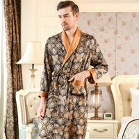 Высокое качество Для мужчин шелковые пижамы Осень 100% натурального шелка халаты с длинными рукавами и принтом халаты классическое платье дл