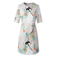 Floral Birds Women S Fit And Flare Jacquard Dresses Half Sleeve Vintage Retro Dress