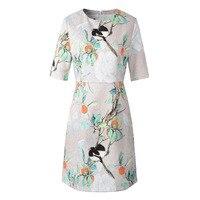Floral Birds Women S Fit And Flare Jacquard Dresses Half Sleeve Vintage Retro Dress