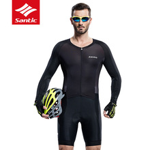 Mens Cycling Jersey MTB Santic Long-Sleeve Racing Quick-Dry Breathable Pro Fit Padded