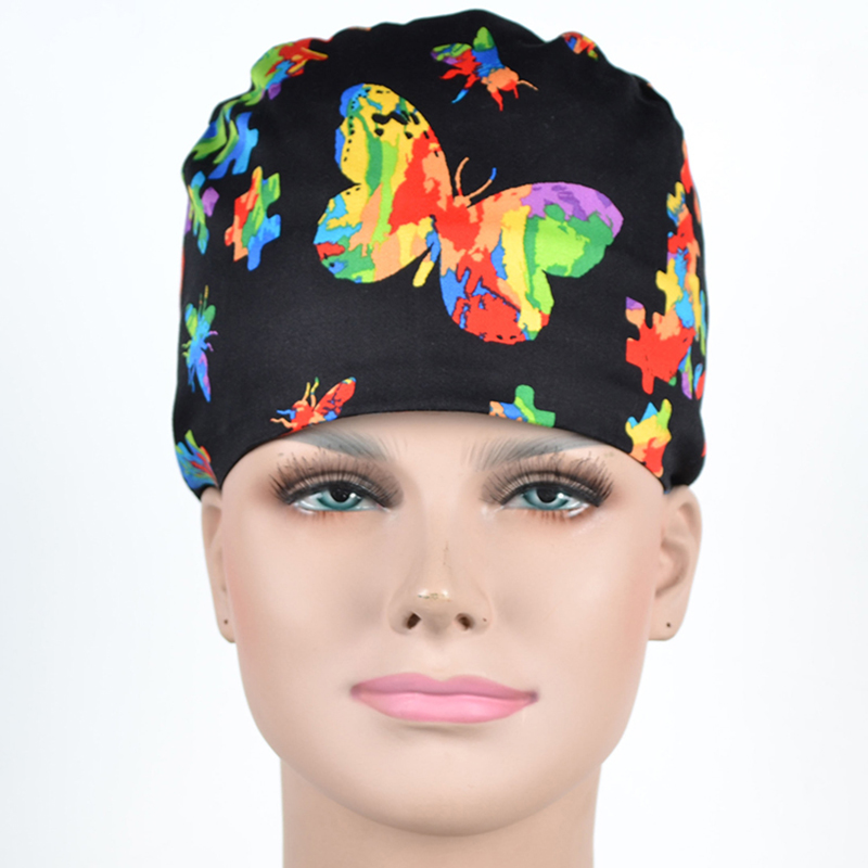 Butterfly Print Nursing Scrub Cap Surgical Hat Mask Cotton Medical Hat For Women Hospital OR Working Hats Adjustable Dentist Cap
