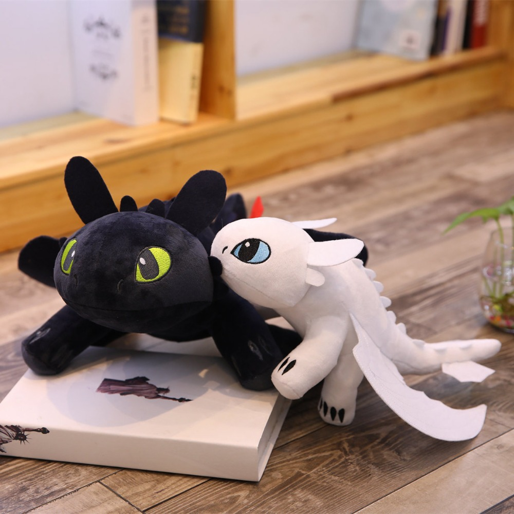 2pcs/lot 35cm Movie How To Train Your Dragon Toothless Dragon Toy Night Fury Light Fury Plush Toy Stuffed Anime Doll For Kids