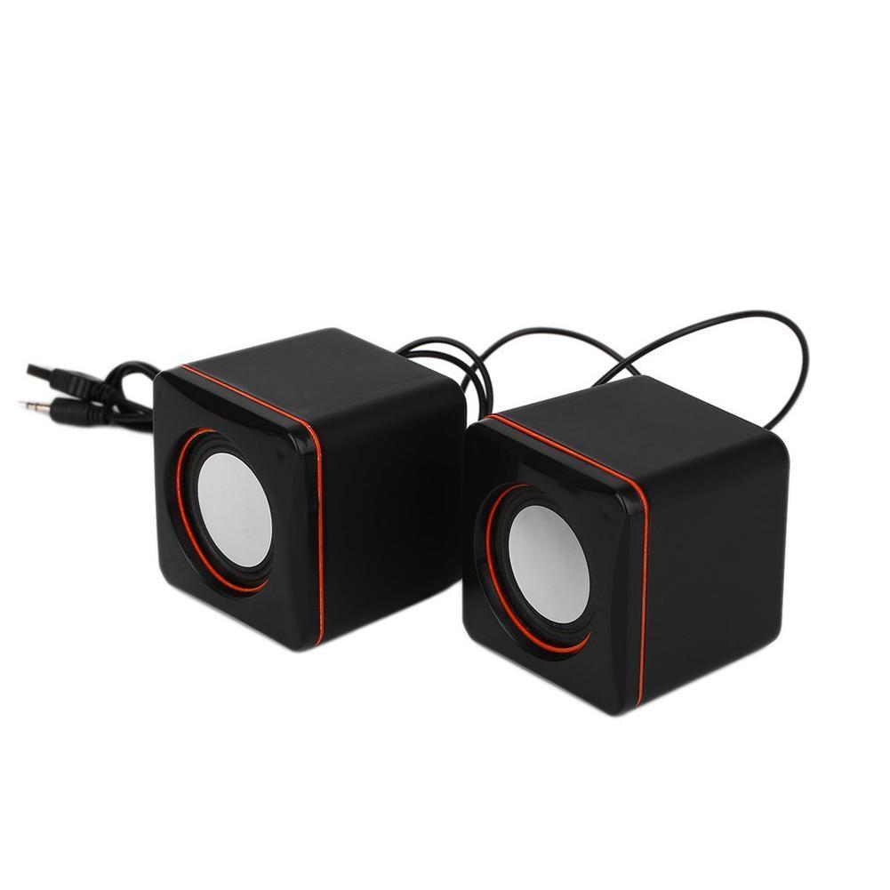 Portable Square shape USB Wired speaker stereo heavy bass loudspeaker for Computer laptop desktop Mini Cute Music Player Speaker