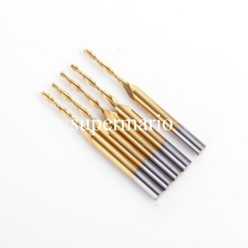 New 5pcs 1/8'' Titanium Coated Carbide CNC Milling Tools 2 Two Double Flute Ball Nose Bit CED 1.5mm  CEL 8mm Free Shipping  цены