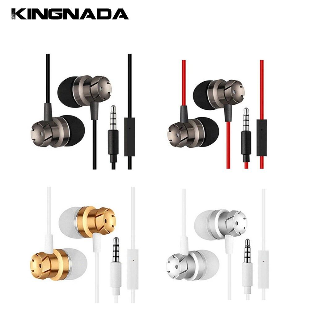 35mm Sweatproof Metal Shell In Ear Earphones Headphones Stereo Turbo Bass Super With Mini Microphone Volume Control Gold Plate Phone