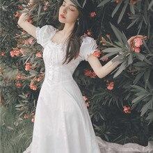 Новые модные женские платья французский суд Ретро без бретелек белое платье темперамент женские летние