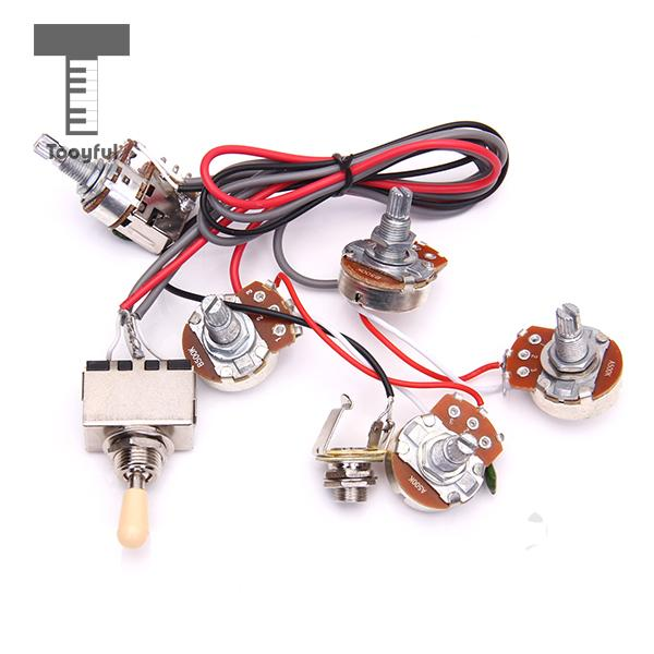 tooyful high quality 1pc electric guitar wiring harness kit 2v2t pot jack 3 way switch for les. Black Bedroom Furniture Sets. Home Design Ideas