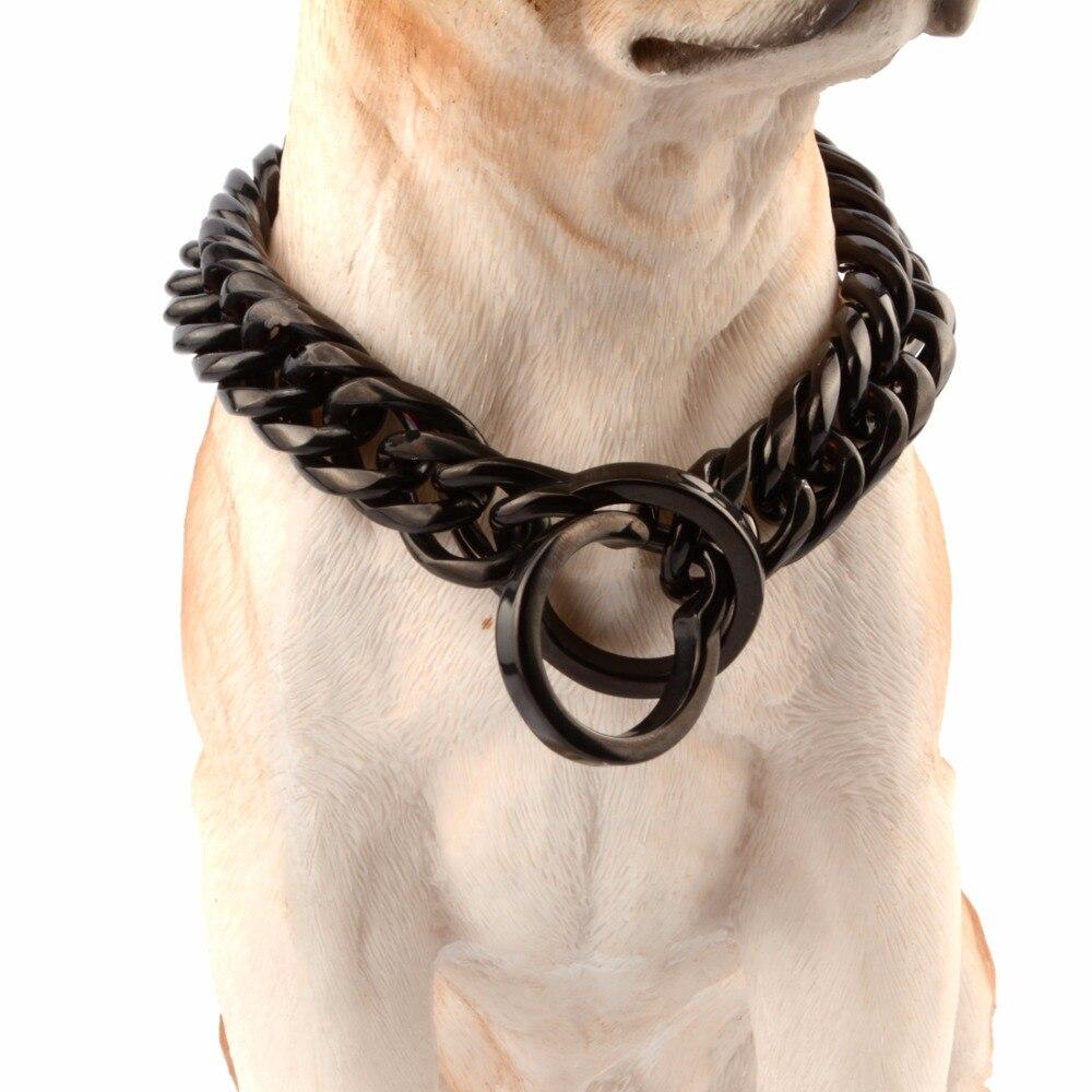 16/18mm de large couleur noire Double bordure cubaine Rombo lien en acier inoxydable collier de chaîne de chien en gros Pet Choker bijoux 14-34 pouces