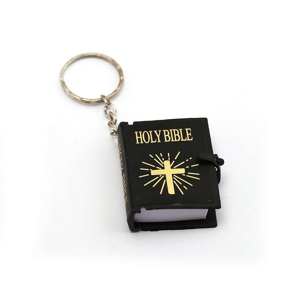 Big Promotion Cute Mini English Holy Bible Keychains Black Metal Religious Christian Jesus Cross Chaveiro Women Men Jewelry
