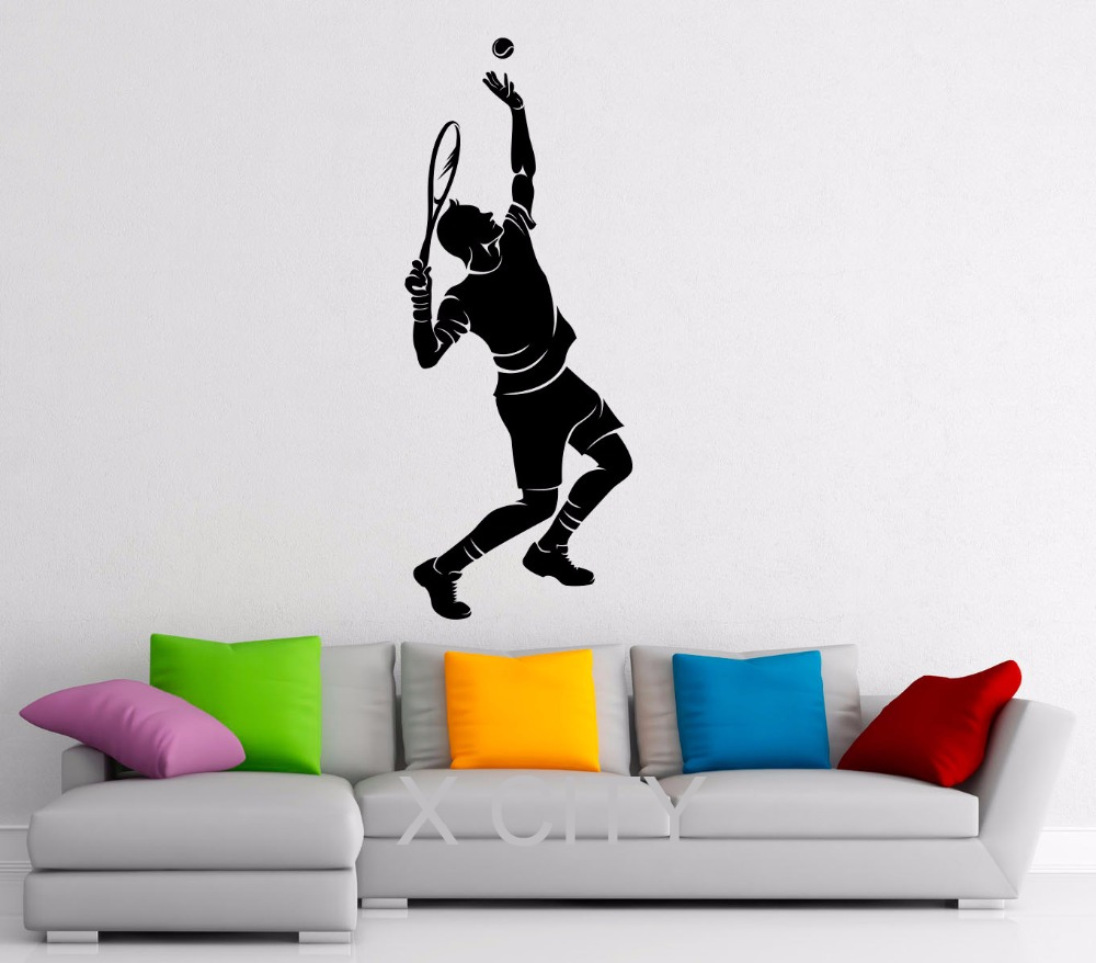 Tennis Wall Decals Sport Vinyl Sticker Graphic Decor School Dorm Home Living Room Bedroom Mural Stencil