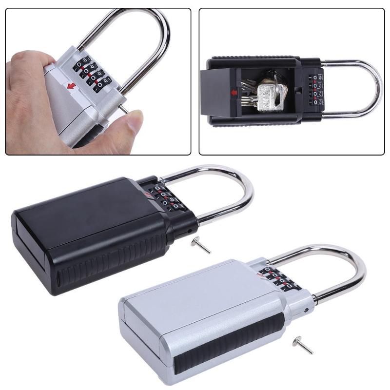 Black Sliver 4 Digit Combination Zinc Alloy Password Safety Key Box Lock Secret Security Padlock Storage Keys Box Organizer