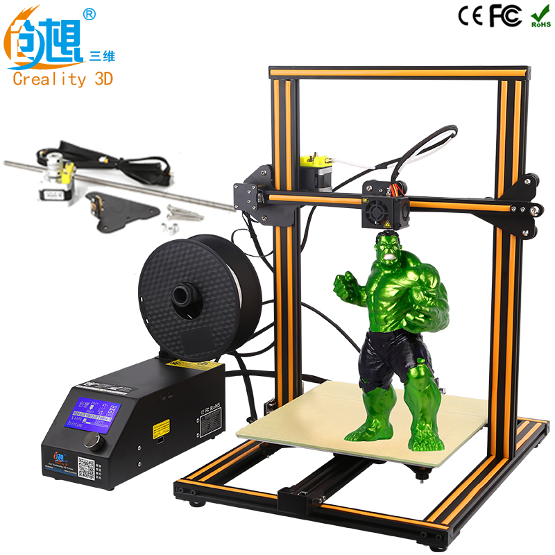 CREALITY 3D CR-10 Large 3D Printer Printing Size 300*300*400mm DIY Kit Aluminum Heated Bed+Upgrade Z axis rod Kit (Optional ) metal frame linear guide rail for xzy axix high quality precision prusa i3 plus creality 3d cr 10 400 400 3d printer diy kit