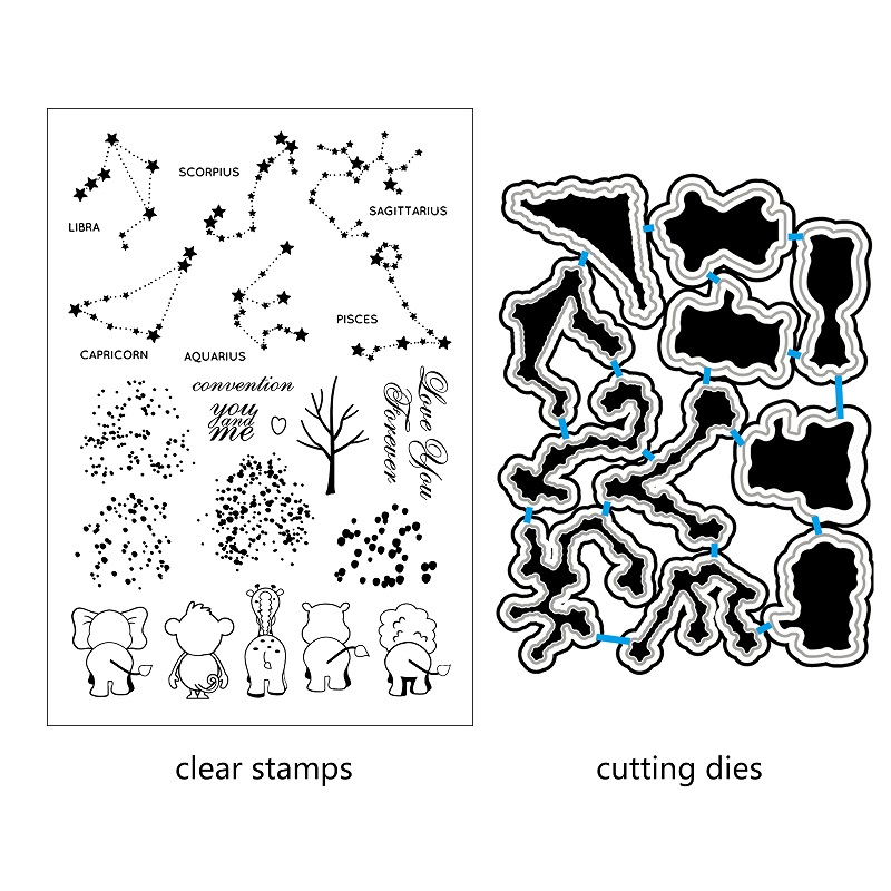 AZSG Cartoon animal look up at stars Clear Stamps Cutting Dies Set for DIY Scrapbookingphoto Album Decorative Craft Chapte