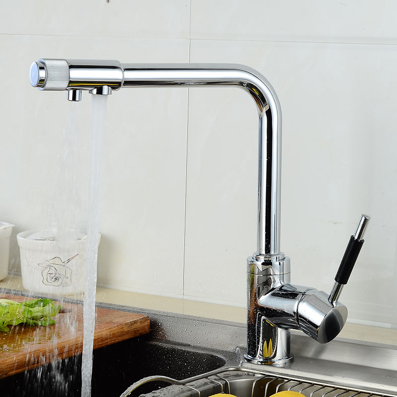 Contemporary Polished Chrome Brass Kitchen Faucet Dual Handels Vessel Mixer Swiverl Tap 2 Way Spout Pure