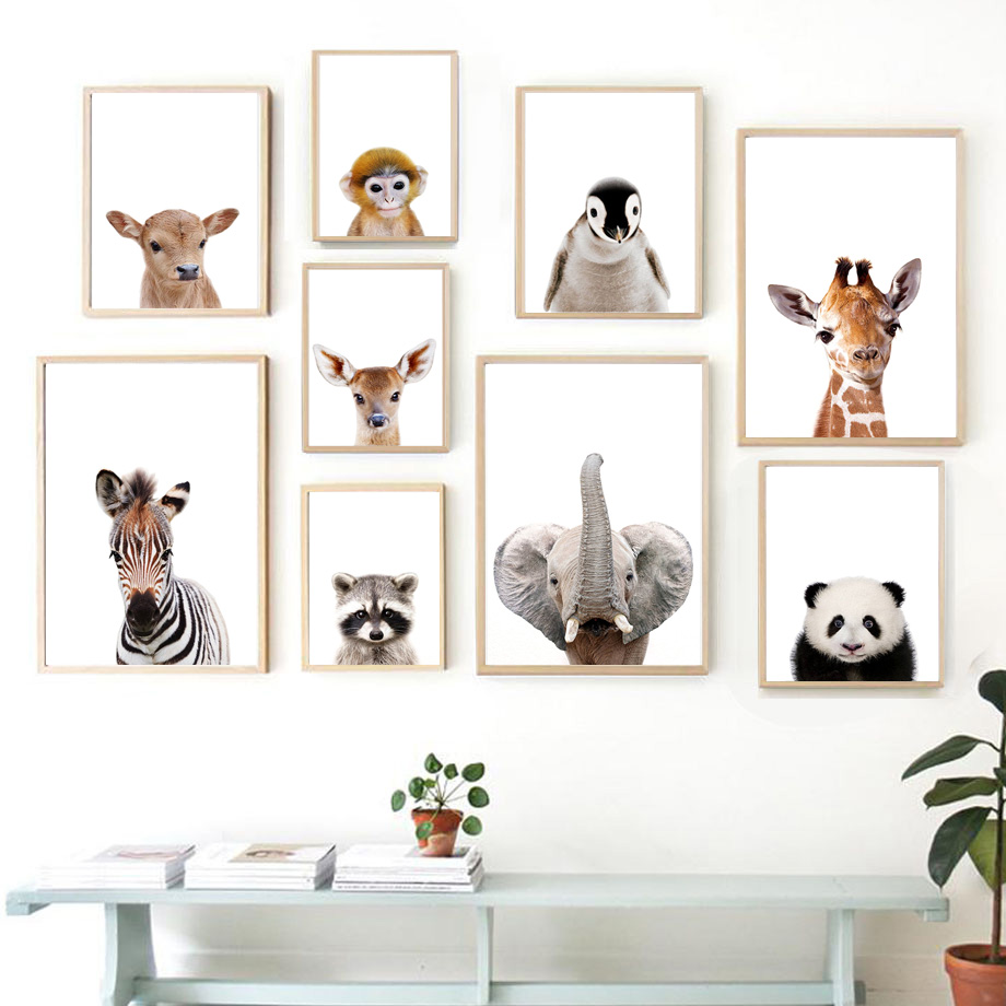 Nordic Posters And Prints Elephant Zebra Giraffe Panda Koala Animals Wall Art Canvas Painting Wall Pictures Baby Kids Room Decor