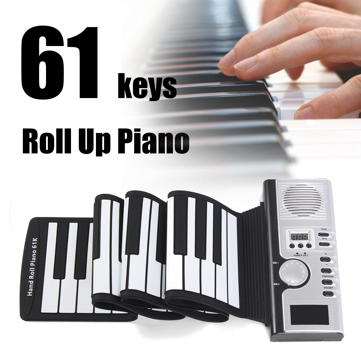 Portable Piano Digital Electronic Black and White 61 Keys Universal Flexible Roll Up Soft Keyboard Piano Children Student Gift футболка классическая printio the black keys