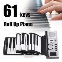 Tragbare Klavier Digitale Elektronische Schwarz und Weiß 61 Tasten Universal Flexible Roll Up Soft-tastatur Klavier Kinder Student Geschenk